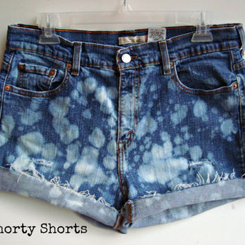 High Waisted Shorts Bleached Cuffed Denim Jean Shorts Summer Clothing Upcycled