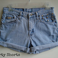 High Waisted Shorts Studded Denim Jean Shorts Festival Wear Summer Clothing