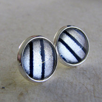 Post Earrings - Navy Stripes Earrings in Silver - Navy Blue Silver Shimmer