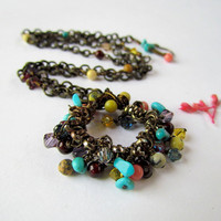 Multi Colored Stone Pendant Necklace Set, boho, unique