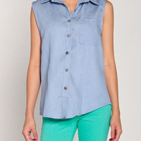 Sleeveless Jean Button Up Top