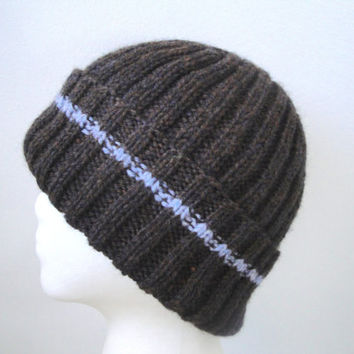 Brown & Blue Hat for Men Women Teens, Hand Knit Wool Blend, Watch Cap, Stocking