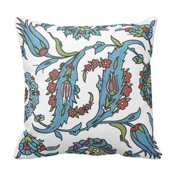 Islamic Floral Ceramic Tile #1 Throw Pillow
