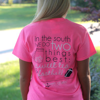 Sweet Tea & Football Tee: Hot Pink - Off the Racks Boutique