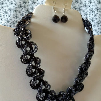 black braided jewelry set seed bead bib collar necklace & stud earrings choker 19 inches hot sexy elegant evening cocktail party up scale