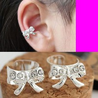 Silver Rhinestone Bow Ear Cuff (Single, Adjustable, No Piercing)