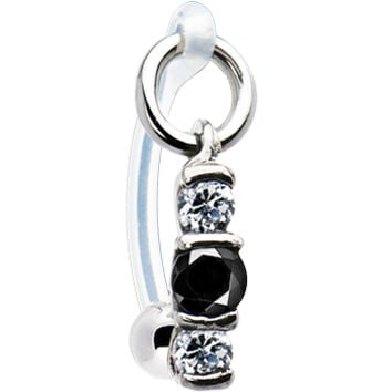 Clear Black Zirconia Trio Drop Bioplast Intimate Piercing | Body Candy Body Jewelry