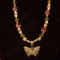 Pink &amp; Green Butterfly Necklace