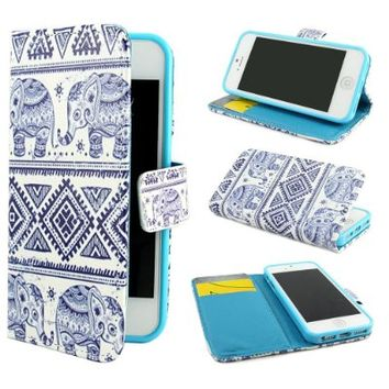 Leathlux Elephants Design Wallet PU Leather Stand Flip Case Cover for Apple iPhone 5 5S
