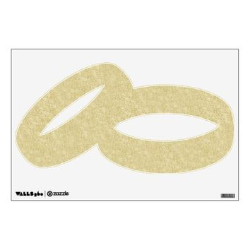 Gold Glitter Wedding Rings Wall Decal