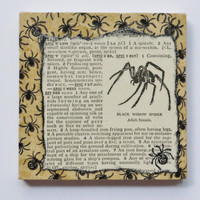 Black Widow Spider Marble Tile Drink Coaster -- Vintage 1951 Dictionary Page -- Halloween, Goth, Steampunk, Macabre, Fangs, Bugs, Poison