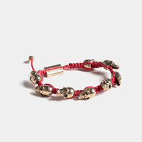 Medium Sized Linked Skulls Bracelet in Red