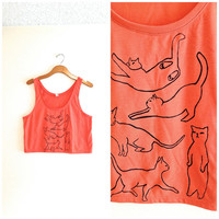 salmon and black cat silhouette tank top, sleeveless blouse, hipster shirt, yoga clothes, crazy cat lady, gift for at lover, teen girl