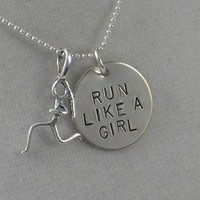 Sterling Silver RUN LIKE A GIRL Necklace - Sterling silver pendants with 16 inch sterling silver chain - Additional lengths available
