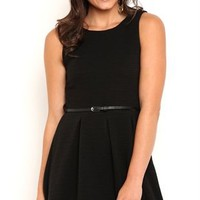 Texture Skater Dress with Belted Waist and Pleated Skirt