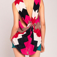 Aztec Drapey Racerback Top in Fuchsia/Red