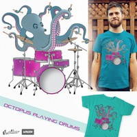 Octopus Playing Drums on Threadless