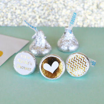 Personalized Metallic Foil Hershey's Kisses Labels Trio