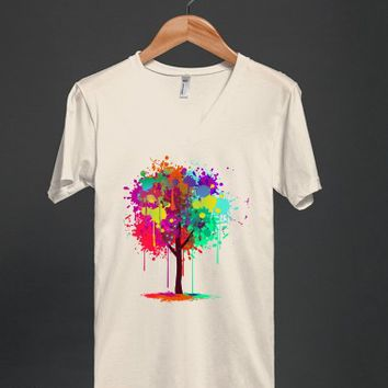Colorful Paint Splat Tree T Shirt - Many colors and styles to choose from