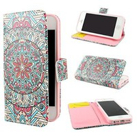 "ivencase Tribal Design Wallet PU Leather Stand Flip Case Cover For Apple iPhone 5 5S + One ""ivencase "" Anti-dust Plug Stopper"