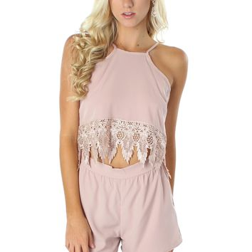 Couture Crochet Romper Blush