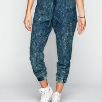 Almost Famous Crave Fame Womens Knit Denim Joggers Acid Wash  In Sizes