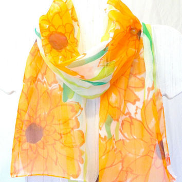 Hand Painted Silk Scarf. Spring Tangerine Orange Garbera Flowers Scarf. Floral. Orange Silk Chiffon Scarf. 10x54 in. Made to order.