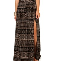 Tribal Print Side Slit Maxi