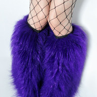 Rave Fluffies GLITTER PURPLE legwarmers monster fur furry bootcovers fuzzy boots gogo