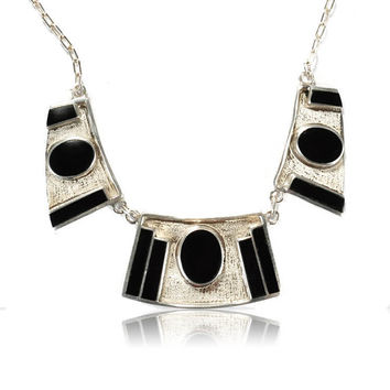 Vintage 950 Sterling Silver Necklace Art Deco Jewelry Design Black Onyx Geometric Designer Fine Jewelry
