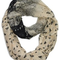 Beautiful Vintage Two Colored Bird Print Infinity Loop Scarf