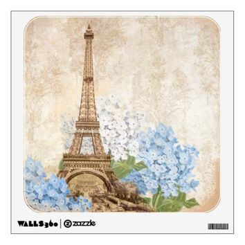 Paris Vintage Blue Hydrangea Wall Decal