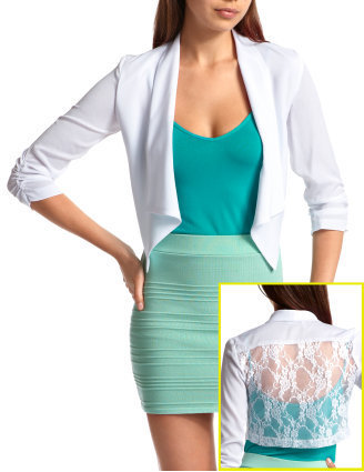 Lace-Back Shawl Collar Blazer
