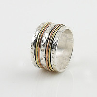 Spinner Ring - ThreeTone Five Spinner Bands - keja Jewelry