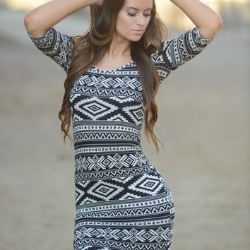 Aztec Print Mini Dress