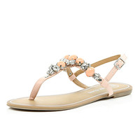 Light pink gem stone T bar sandals - flat sandals - shoes / boots - women