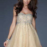 Buy Charming A-line Scoop Neckline Mini Beadings Tulle Cocktail Dress  under 200-SinoAnt.com