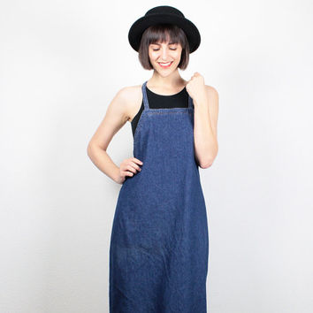 Vintage Denim Dress 1990s Dress Midi Dress Overalls Dress Dungarees Backless Dress Halter Dress 90s Dress Soft Grunge Dress M Medium L Large