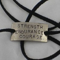 STRENGTH ENDURANCE COURAGE WRAP BRACELET - Nickel silver pendant with 36 inch micro fiber suede lace wrap - Choose Your Color!
