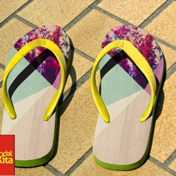 Flip Flops - Floral Geometric on Wood