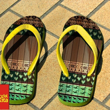 Flip Flops - Love Aztec on Wood