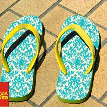Flip Flops - Turquoise and Cream Damask