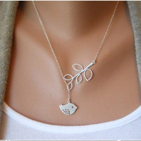 ancient vintage style silvery tree branch bird pendant women collarbone necklace short necklace  XL36