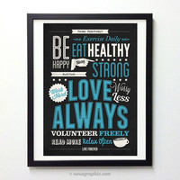 "Inspirational Typography Wall Decor "" Love Always, Work Hard, Worry Less "" - Vintage Style Life Advice Art Print"