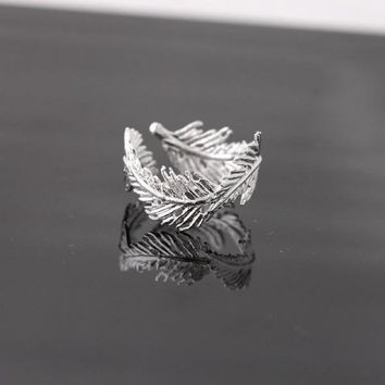 feather ringadjustable in silver by bythecoco on Zibbet