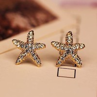 Golden Starfish Full Rhinestone Fashion Earrings