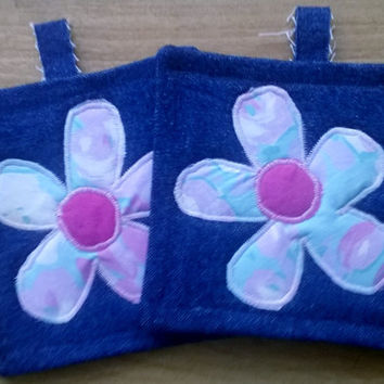 Blue and Pink Flowers Denim Upcycled Pot Holders, Hot Mat, Trivit 100% Cotton Fabric