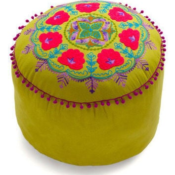 Folky Fresh Pouf in Olive | Mod Retro Vintage Decor Accessories | ModCloth.com
