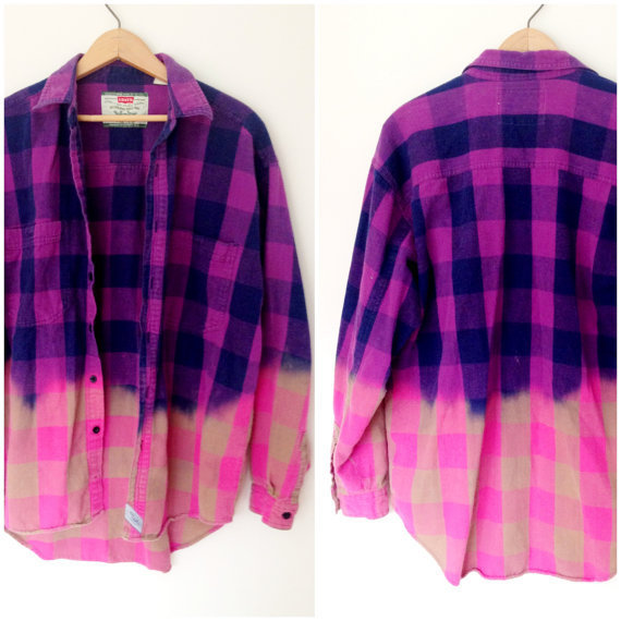 Vintage Levis Flannel Bleached - Purple &amp; Pink