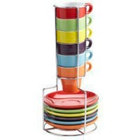 Colorful Espresso Mugs with Saucers